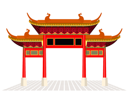 China town door and floor isolate on white background vector design  イラスト・ベクター素材