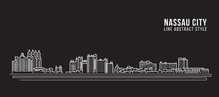 도시 건물 라인 아트 벡터 일러스트 레이 션 디자인 - 나소 도시 일러스트