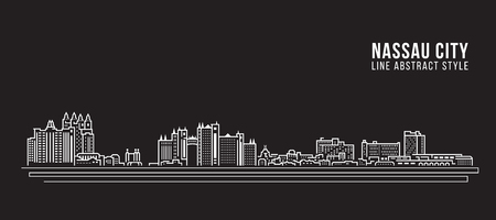 Cityscape Building Line art Vector Illustration design - Nassau city