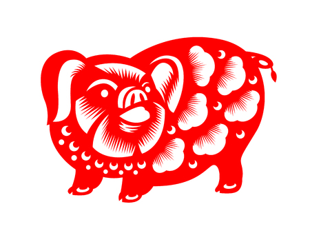 Red paper cut pig zodiac sign isolate on white background vector design Illustration