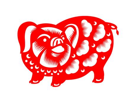 Rode papier gesneden varkens dierenriem teken isoleren op witte achtergrond vector design Stock Illustratie