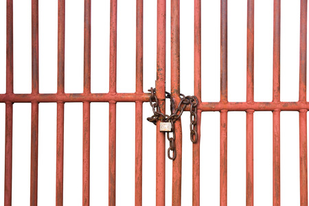 Orange Cage door with chain and lock isolate on white background Banco de Imagens