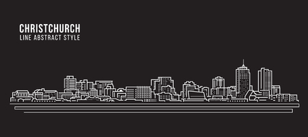 Cityscape Building Line art Vector Illustration design - Christchurch city Ilustração