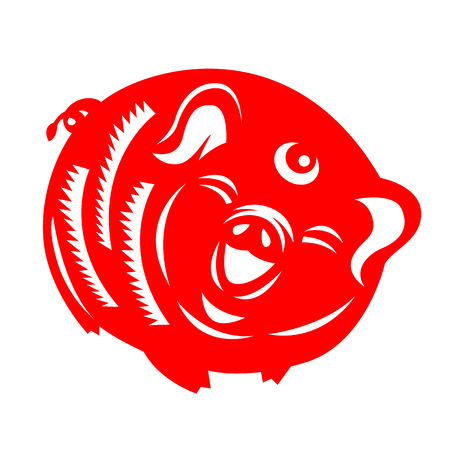 Red paper cut pig zodiac sign isolate on white background vector design  イラスト・ベクター素材