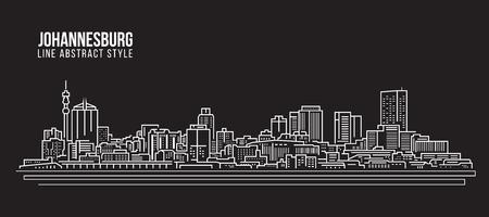 Cityscape Building Line art Vector Illustration design - johannesburg skyline