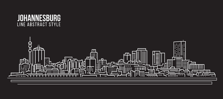 Cityscape Building Line art Vector Illustration design - johannesburg skyline