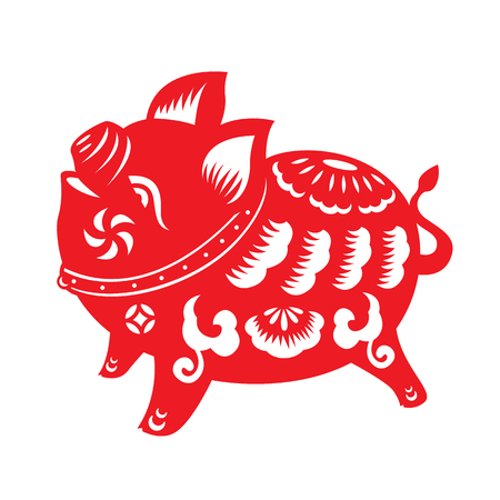 赤い紙カット豚ゾディアック サインを白い背景ベクトル デザインの分離