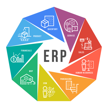 Enterprise resource planning module icon on circle flow chart design template. 向量圖像