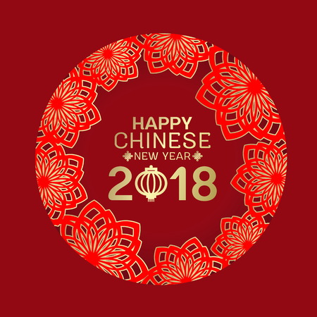 Happy Chinese new year 2018 and lantern text in abstract red and gold lotus flower circle frame on red background. Illustration