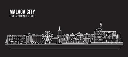 Cityscape Building Line art Vector Illustration design - Malaga city Vector Illustration