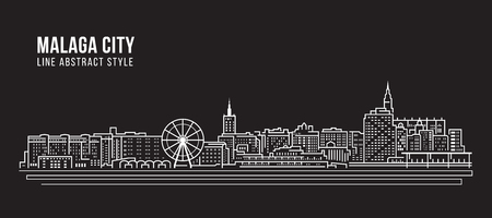 Cityscape Building Line art Vector Illustration design - Malaga city