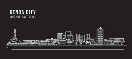Allineamento dei fabbricati di paesaggio urbano progettazione dell'illustrazione di vettore di arte - città di Genova