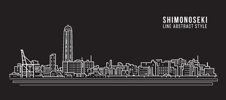 都市の景観建物ライン アート ベクトル イラスト デザイン - 下関市
