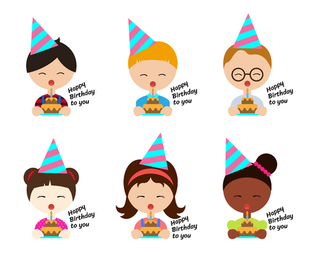 Kids wearing party hats and blow cake in birthday party vector set design