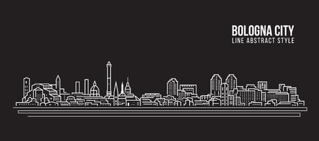 都市景観ビルディングラインアートベクターイラストデザイン-ボローニャシティ