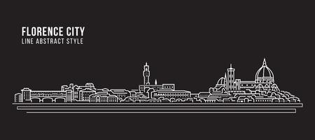 都市景観建築ラインアートベクターイラストデザイン-フィレンツェシティ