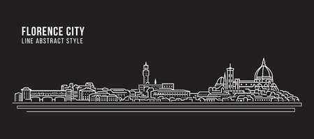 Cityscape Building Line art Vector Illustration design - Florence city