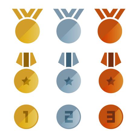 Progettazione stabilita di vettore dell'icona delle medaglie di bronzo d'argento dell'oro. Archivio Fotografico - 89747477