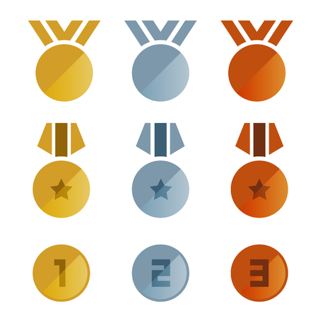 Gold silver bronze medals icon vector set design.