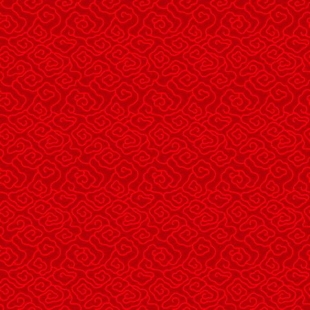 赤い中国ヴィンテージ雲のシームレスなパターン背景ベクトル デザイン