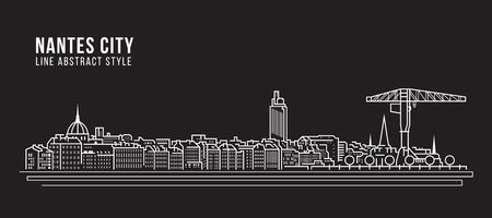 Cityscape Building Line art Vector Illustration design - Nantes city