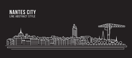 Cityscape Building Line art Vector Illustration design - Nantes city