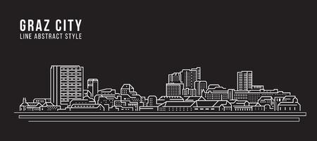 Graz cityscape building line art illustration