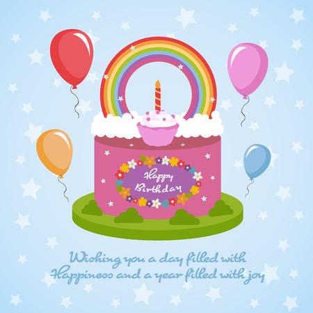 Happy birthday card design template.