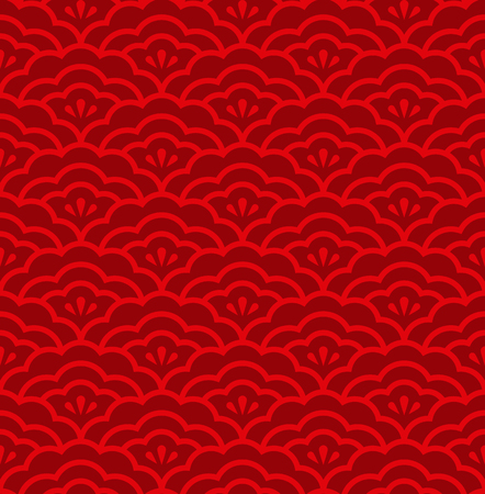 Red Flower petals overlap seamless pattern background vector design