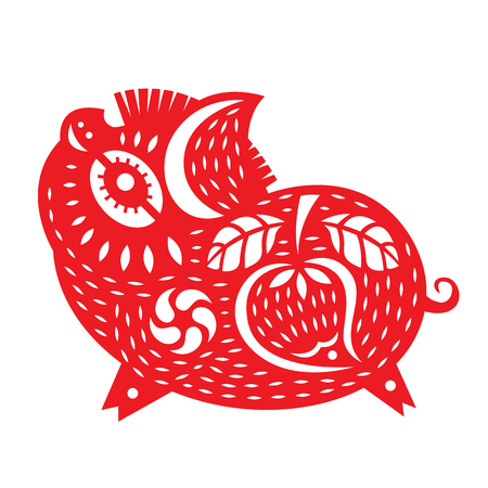 Red paper cut pig boar zodiac sign with flower and china peach fruit texture isolate on white background vector design