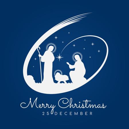 Buon natale banner segno con paesaggio notturno di natale maria e giuseppe in una mangiatoia con Gesù bambino e meteore su sfondo blu disegno vettoriale Vettoriali