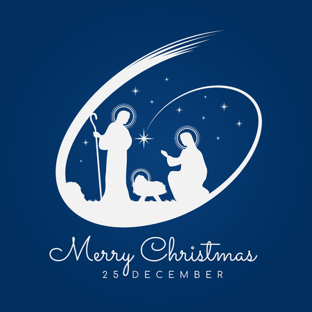 Cartel de banner de feliz Navidad con paisaje de Navidad por la noche María y José en un pesebre con bebé Jesús y Meteor en diseño de vector de fondo azul Ilustración de vector