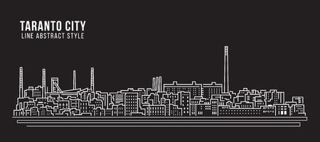Cityscape Building Line art Vector Illustration design - Taranto city