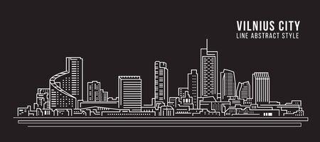 Cityscape Building Line art Vector Illustration design - Vilnius city
