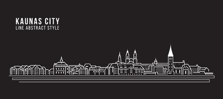 Cityscape Building Line arte Vector ilustración diseño - Kaunas city