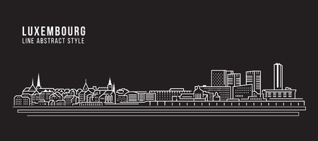 Building Line art Illustration design Luxembourg city Illustration