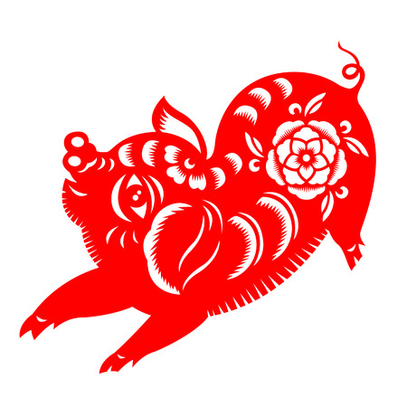 Red paper cut pig boar zodiac sign  isolate on white background vector art design