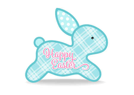Happy easter with blue cute bunny and Scottish Tartan texture sign on white background vector design
