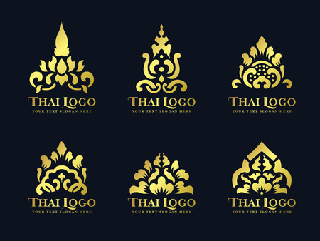 Gold thai art traditional lotus flower logo vector set design