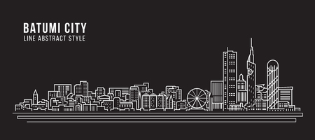 Cityscape Building Line art Vector Illustration design - Batumi city