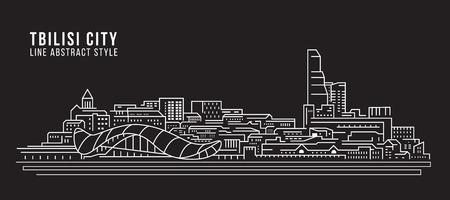 Cityscape Building Line art Vector Illustration design - Tbilisi city