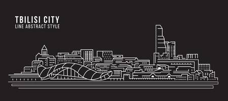 Cityscape Building Line art Vector Illustration design - Tbilisi city