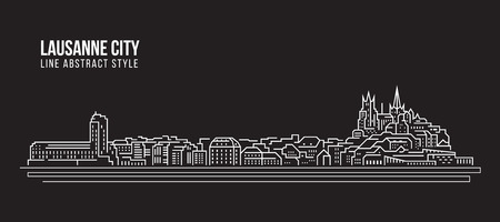 Cityscape Building Line art Vector Illustration design - Lausanne city