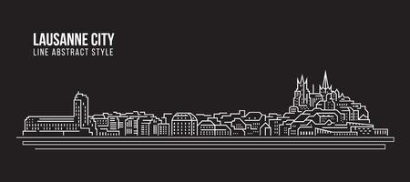 Allineamento dei fabbricati di paesaggio urbano progettazione dell'illustrazione di vettore di arte - città di Losanna