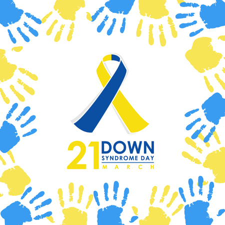 World down syndrome day - 21 march with Blue and Yellow ribbon sign and Blue and yellow hand paint sign frame vector banner design Vettoriali