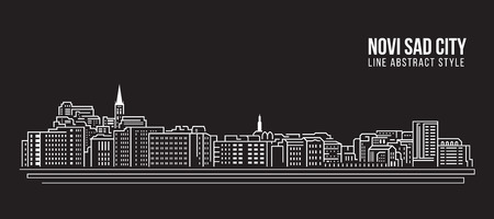 Cityscape Building Line art Vector Illustration design - Novi sad city Ilustração