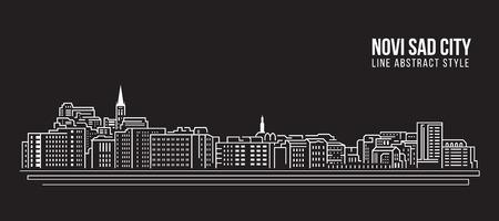 Cityscape Building Line art Vector Illustration design - Novi sad city Stock Illustratie