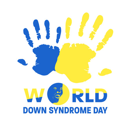 World down syndrome day with Blue and Yellow hand paint sign and face down syndrome sign vector banner design Stock Illustratie