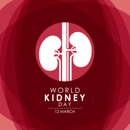 World kidney day 12th of March with kidney in circle sign on abstract red background.