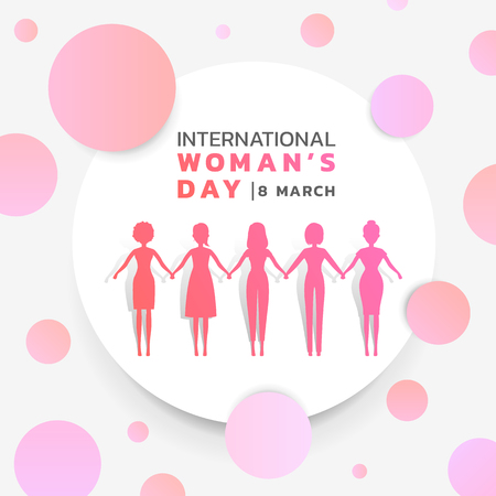 International Womens day with background pink purple womans group holding hands together in white circle and abstract pink purple circle texture. Vector banner design.